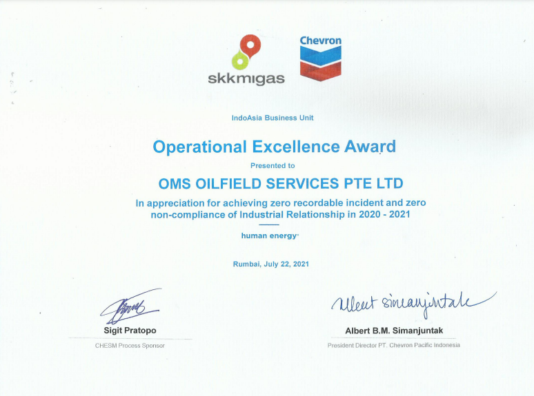 OMS Duri receives Operational Excellence Award